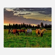 Horses Grazing Throw Blanket