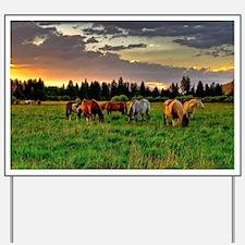 Horses Grazing Yard Sign