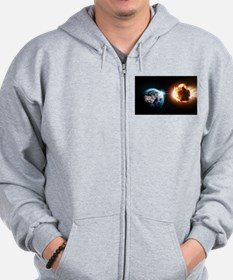 Earth And Asteroid Zip Hoodie