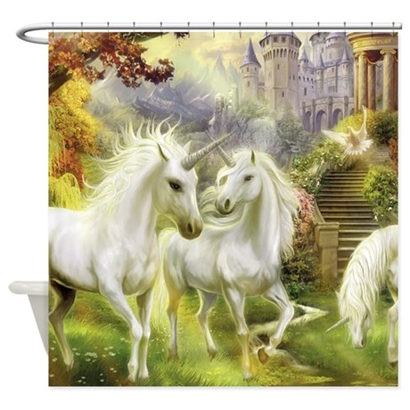 Fantasy unicorns shower curtain by wickeddesigns4 for Fantasy shower curtains