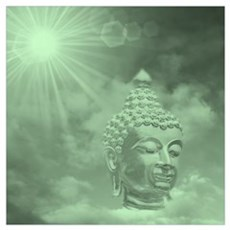 buddha in green Poster