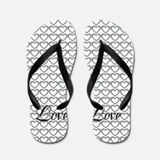 Romantic Gray White Love Hearts Pattern Flip Flops