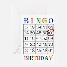 100th birthday Bingo card Greeting Cards
