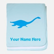 Plesiosaurus Silhouette (Blue) baby blanket