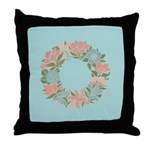 Flowered Summer Floral Wreath Throw Pillow