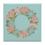 Flowered Summer Floral Wreath Tile Coaster