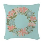 Flowered Summer Floral Wreath Woven Throw Pillow