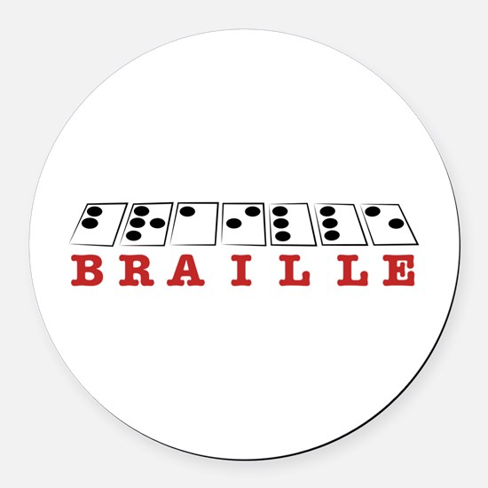 Braille Letters Round Car Magnet
