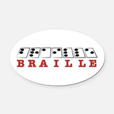 Braille Letters Oval Car Magnet