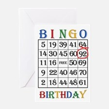 92nd birthday Bingo card Greeting Cards