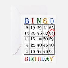 91st birthday Bingo card Greeting Cards
