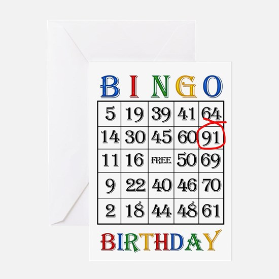 91st birthday Bingo card Greeting Cards