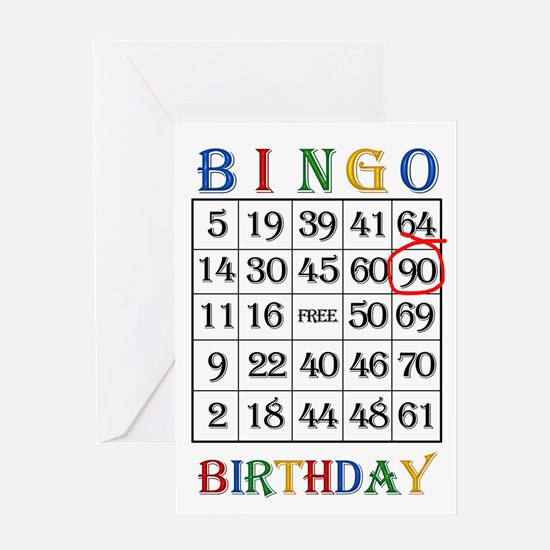 90th birthday Bingo card Greeting Cards