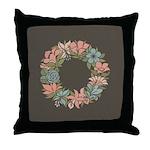 Flowered Summer Floral Wreath Throw Pillow