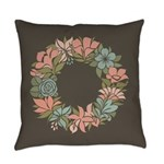 Flowered Summer Floral Wreath Everyday Pillow