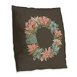 Flowered Summer Floral Wreath Burlap Throw Pillow