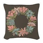 Flowered Summer Floral Wreath Woven Throw Pillow