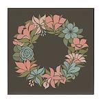 Flowered Summer Floral Wreath Tile Coaster