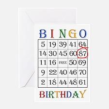87th birthday Bingo card Greeting Cards