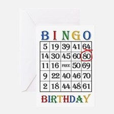 80th birthday Bingo card Greeting Cards