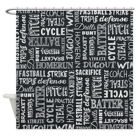 Baseball Game Chalkboard Words Shower Curtain By Jinjinjunction