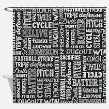 Baseball Game Chalkboard Words Shower Curtain