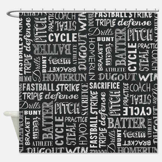 Baseball Game Chalkboard Words Shower Curtain