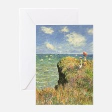 Cliff Walk at Pourville by Claude M Greeting Cards