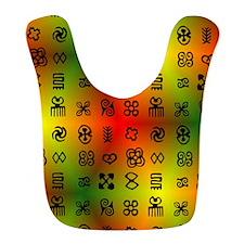 Adinkra Symbols With African Colors Bib