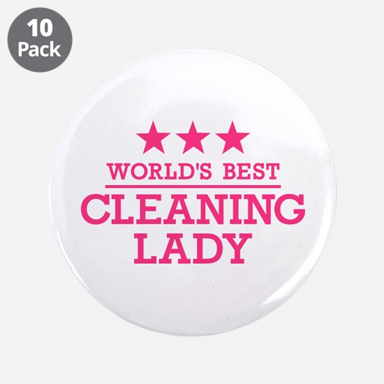 """World's best cleaning lady 3.5"""" Button (10 pack)"""