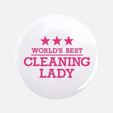 "World's best cleaning lady 3.5"" Button (100 pack)"