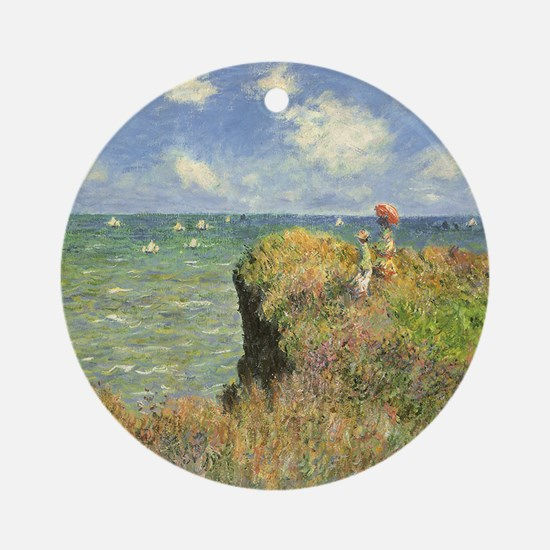 Cliff Walk at Pourville by Claude Ornament (Round)