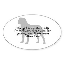 Mastiff Girl in my Life Oval Decal