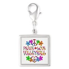 Peace Love Volleyball Silver Square Charm