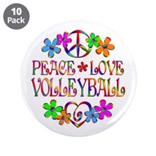 "Peace Love Volleyball 3.5"" Button (10 pack)"