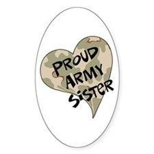 Proud Army sister heart Oval Decal