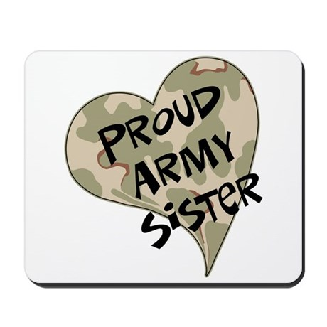 Proud Army sister heart Mousepad