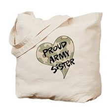 Proud Army sister heart Tote Bag