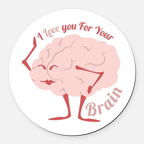 Love Your Brain Round Car Magnet