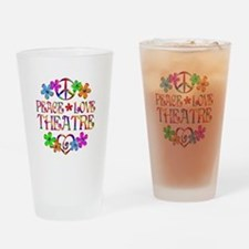 Peace Love Theatre Drinking Glass