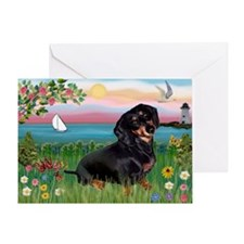 Lighthouse Doxie Greeting Card