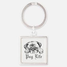 Pug Life 2 Square Keychain