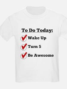 5th Birthday Checklist T-Shirt