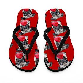 Valentines Pug dog Flip Flops