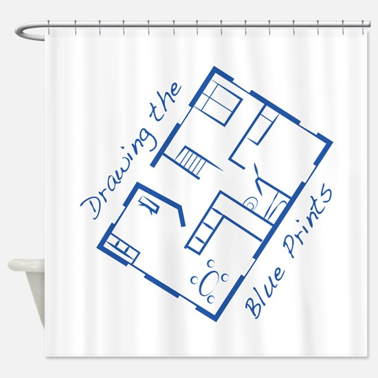 The Blue Prints Shower Curtain