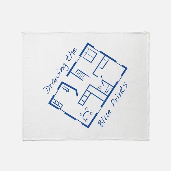 The Blue Prints Throw Blanket