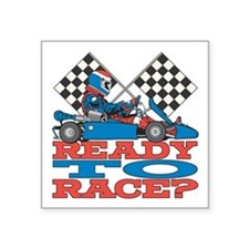 "Ready to Race Go Kart Square Sticker 3"" x 3"""