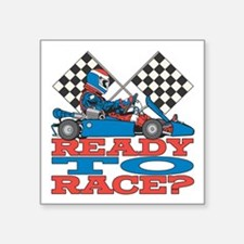 "Ready to Race Go Kart Square Sticker 3"" x 3"""