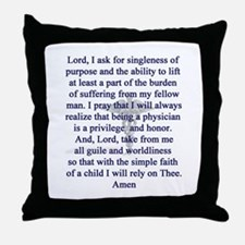 Physician's Prayer Throw Pillow