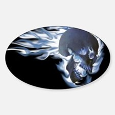 Blue Flaming Skull Decal